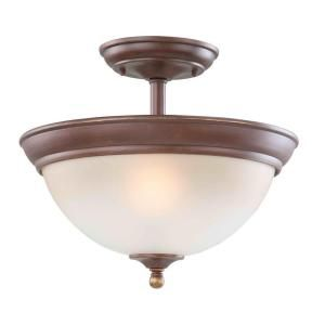 Hampton Bay Bristol Collection Nutmeg Bronze 2 Light Semi Flushmount FNK8212A 2