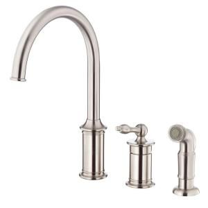 Danze Prince Single Handle Kitchen Faucet with Spray in Stainless Steel D409010SS