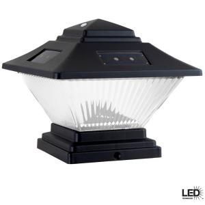 Hampton Bay Post Cap Outdoor Black Solar LED Lights (4 Pack) QPP4 N3 BK W4