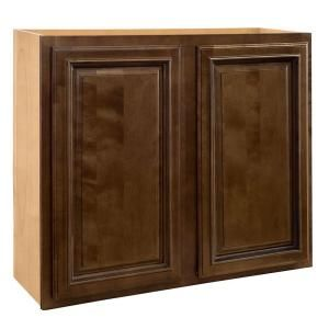Home Decorators Collection Assembled 27x30x12 in. Wall Double Door Cabinet in Huntington Chocolate Glaze DISCONTINUED W2730 HCG