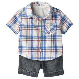 Genuine Kids from OshKosh Boys Plaid Top and Denim Bottom Set   Cream/Blue 12 M