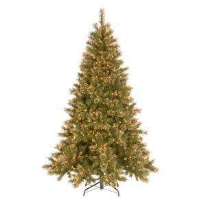National Tree Company 9 ft. Glittery Gold Pine Hinged Christmas Tree with 850 Ready Lit Clear Lights GPG3 319E 90X