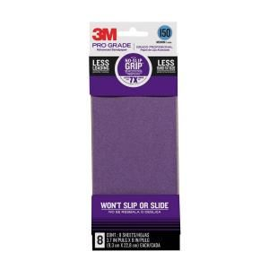 3M 3.66 in. x 9 in. Pro Grade 150 Grit Medium No Slip Grip Sandpaper (8 Pack) 126150P G