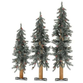 Sterling, Inc. 2 3 4 ft. Frosted Alpine Artificial Christmas Tree with Pinecones and Red Berries (Set of 3) 2511 234