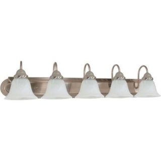 Glomar Ballerina 5 Light Brushed Nickel Vanity with Alabaster Glass Bell Shade HD 323