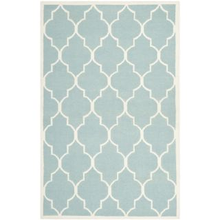 Safavieh Hand woven Moroccan Dhurrie Light Blue Wool Rug (9 X 12)