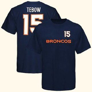 Tim Tebow Denver Broncos Game Gear Navy Jersey Name And Number T Shirt 2X Large  Sports Fan T Shirts  Sports & Outdoors