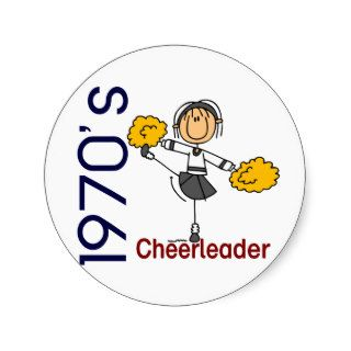 1970's Cheerleader Stick Figure Sticker