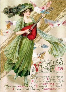 Unique High Quality Song in your Heart Vintage Valentines Day Cards School Package  Greeting Cards