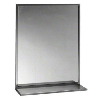 "Bobrick 165 Series 430 Stainless Steel Channel Frame Glass Mirror, Bright Finish, 24"" Width x 60"" Height"