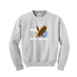 USA We're The Best Youth Crewneck Sweatshirt Small Ash Clothing
