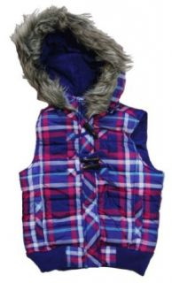 Girls Plaid Puffer Vest with Faux Fur Trimmed Hood, Purple/Fuschia/Blue, Sz 18 Clothing
