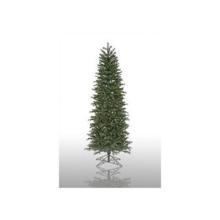 Vickerman Co. Redwood 9.5 Green Slim Artificial Christmas Tree with 550 Pre Lit Multicolored Lights with Stand Christmas Decor