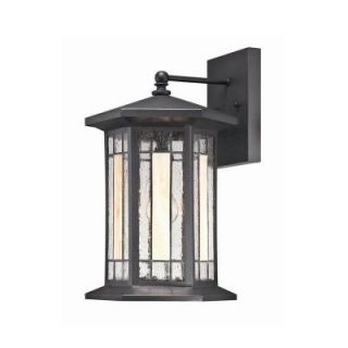 Hampton Bay Woodbridge Collection 1 Light Medium Black Faux Tiffany Wall Sconce DISCONTINUED 21103 018