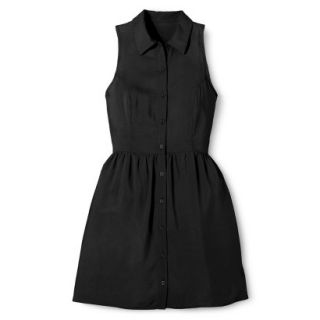 Merona Womens Woven Sleeveless Shirt Dress   Ebony   8