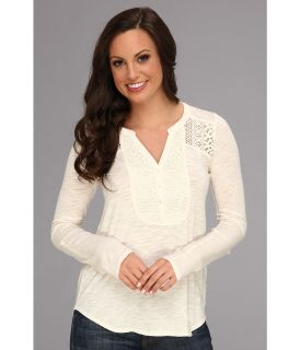 Lucky Brand Lace Tuxedo Top Womens Long Sleeve Pullover (White)