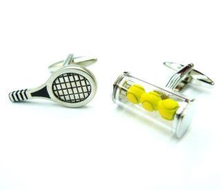 Tailor B 3 Dimensional Tennis Set Cufflinks 3D Racket and Balls Yellow Sports Cuff Links Jewelry
