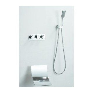 Wall Mount Waterfall Tub Faucet with Hand Shower (Chrome Finish)   Bathtub And Showerhead Faucet Systems