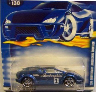 Hot Wheels 2001 164 Scale Blue 25th Anniversary Lamborghini Countach #130 164 Scale Collectible Die Cast Car Toys & Games