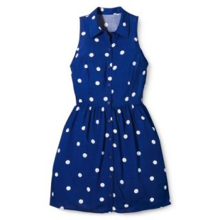 Merona Womens Woven Sleeveless Shirt Dress   Blue Polka Dot   12
