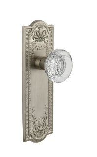 Nostalgic Warehouse MEARCC 22 SN Double Dummy Meadows Plate with Round Clear Crystal Knob and without Keyhole, Satin Nickel   Doorknobs