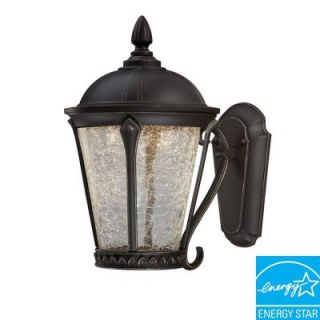 Hampton Bay Cottrell Collection Wall Mounted Outdoor Aged Bronze LED Powered Lantern HB7051P 246
