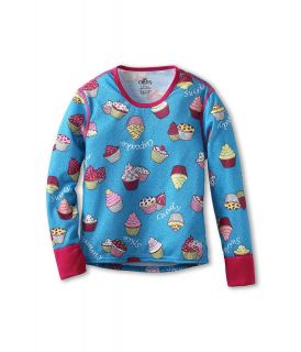 Hot Chillys Kids Midweight Print Crew Girls Clothing (Blue)