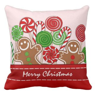 Cute red Christmas gingerbreads Pillows