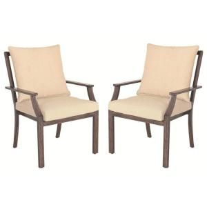 Hampton Bay Millstone Patio Dining Chair with Desert Sand Cushion (2 Pack) FCA65098 TPK