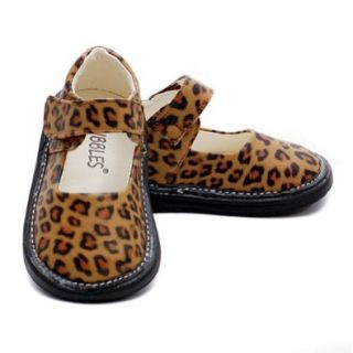 Baby Girl Size 3 Brown Animal Print Mary Jane Velcro Shoe No Shoes