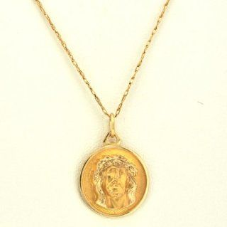 14K Yellow Gold Christ Head Charm Pendants Jewelry