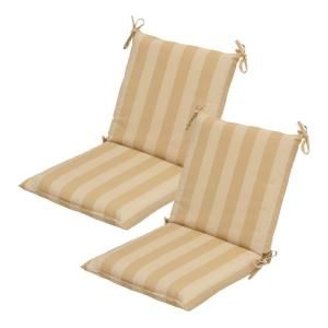Hampton Bay Roux Stripe Mid Back Outdoor Chair Cushion (2 Pack) 7410 02001600