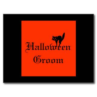 Halloween Groom with Black Cat   Orange and Black Post Card
