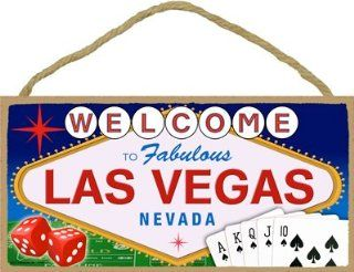 "Welcome to Fabulous Las Vegas Nevada 5"" X 10"" Wood Plaque sign  Decorative Plaques"