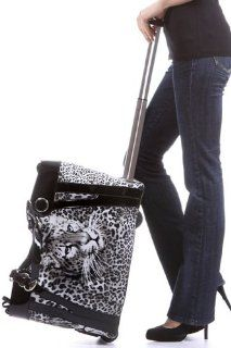 Grey Black Leopard Cheetah Design Faux Patent Trim Rolling Duffle Bag With Padded Laptop Pocket Computers & Accessories