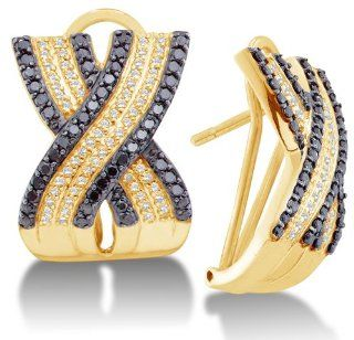 14K Yellow Gold Large Micro Pave Set Round White and Black Diamond Cross Over Hoop Earrings   (1.50 cttw) Sonia Jewels Jewelry