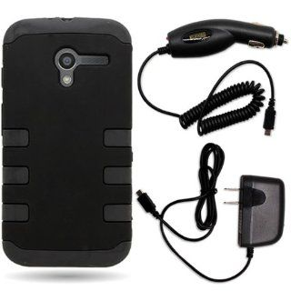CoverON� Motorola Moto X Hybrid TPU & Hard Plastic Dual Layer Case Bundle with Black Micro USB Home Charger & Car Charger   Black Cell Phones & Accessories