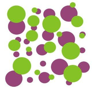 set of 106 Purple and Lime Green polka dots Vinyl wall lettering stickers quotes and sayings home art decor kit peel stick mural graphic appliques decal   Wall Banners