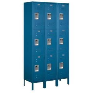 Salsbury Industries 53000 Series 45 in. W x 78 in. H x 15 in. D Triple Tier Extra Wide Metal Locker Unassembled in Blue 53365BL U