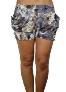 143Fashion Harem Multi Color Shorts w/ Front Pockets, Brown/Purple, Large/X Large Bottoms Clothing