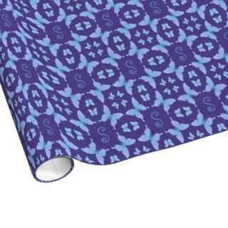 Groovy Peace Butterfly Monogram Frame blue purple Gift Wrap Paper