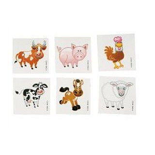 144 Assorted Farm Barnyard Animal Temporary Tatoos Toys & Games