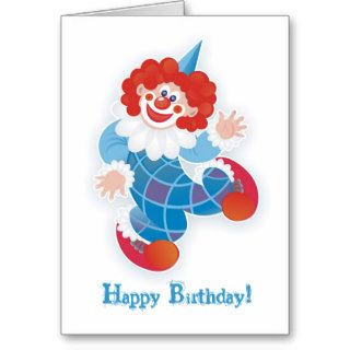 happy birthday with blue clown greeting card