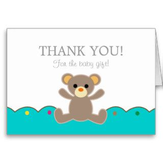 Teddy Bear Gender Neutral Baby Gift Thank You Greeting Card