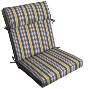 Hampton Bay Harbor Spring Stripe Pillow Top High Back Outdoor Chair Cushion FD03332A 9D1