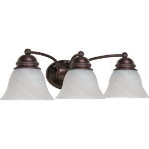 Glomar Empire 3 Light Old Bronze Vanity with Alabaster Glass Bell Shades HD 346