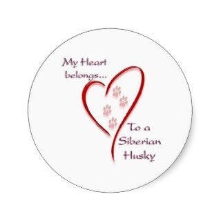 Siberian Husky Heart Belongs Round Stickers