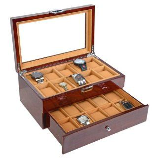 Luxury Gifts Inc Mahogany Solid Wood Watch Box for 20 Watches with Soft Cushions and Clear Window Kitchen & Dining