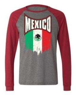 Emo Men's Mexican Pride, Mexico Faded Flag Baseball Shirt Clothing