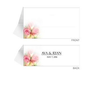 290 Personalized Place Cards   Rose Pink Baby Twins  Greeting Cards